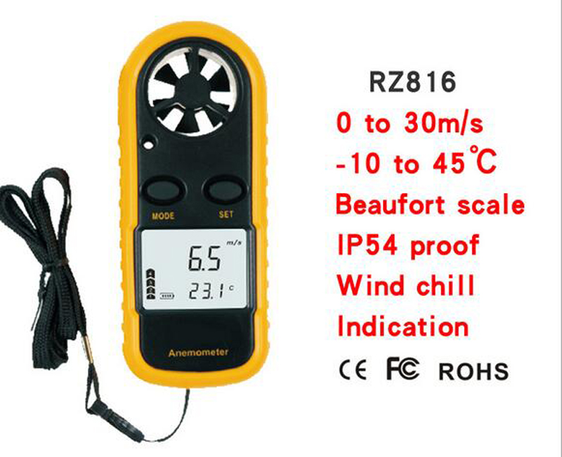 816 Wind Speed Temperature Gauge Anemometer with LCD digital display