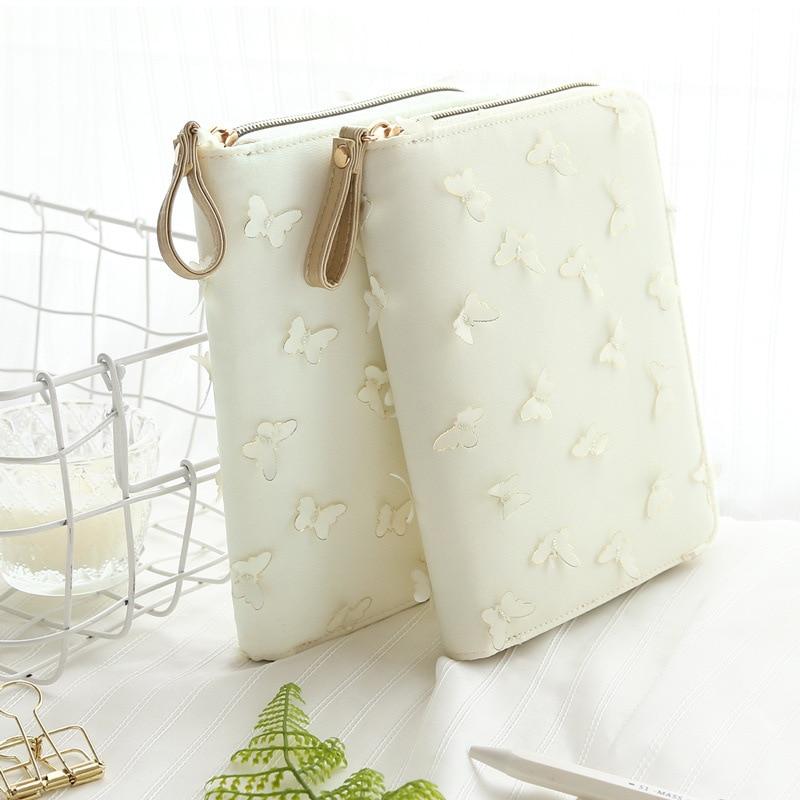 Funda de tela blanca Bolsa de cremallera de mariposa Estilo diario - Blocs de notas y cuadernos