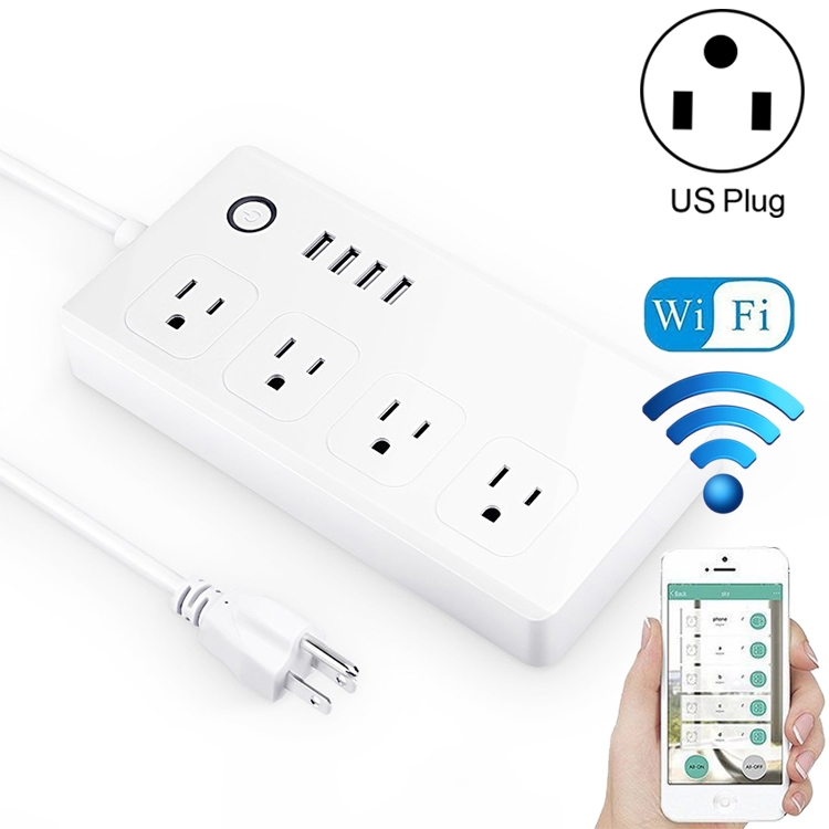 4 x USB Ports + 4 x US Plug Jack WiFi Remote Control Smart Power Socket Works with Amazon Alexa & Google Assistant