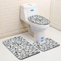 S 3pcs Bathroom Rugs and Mat Set Toilet Mat Set Cobblestone Carpet for Valentine's Day Bathroom Cushion Set Home Decor