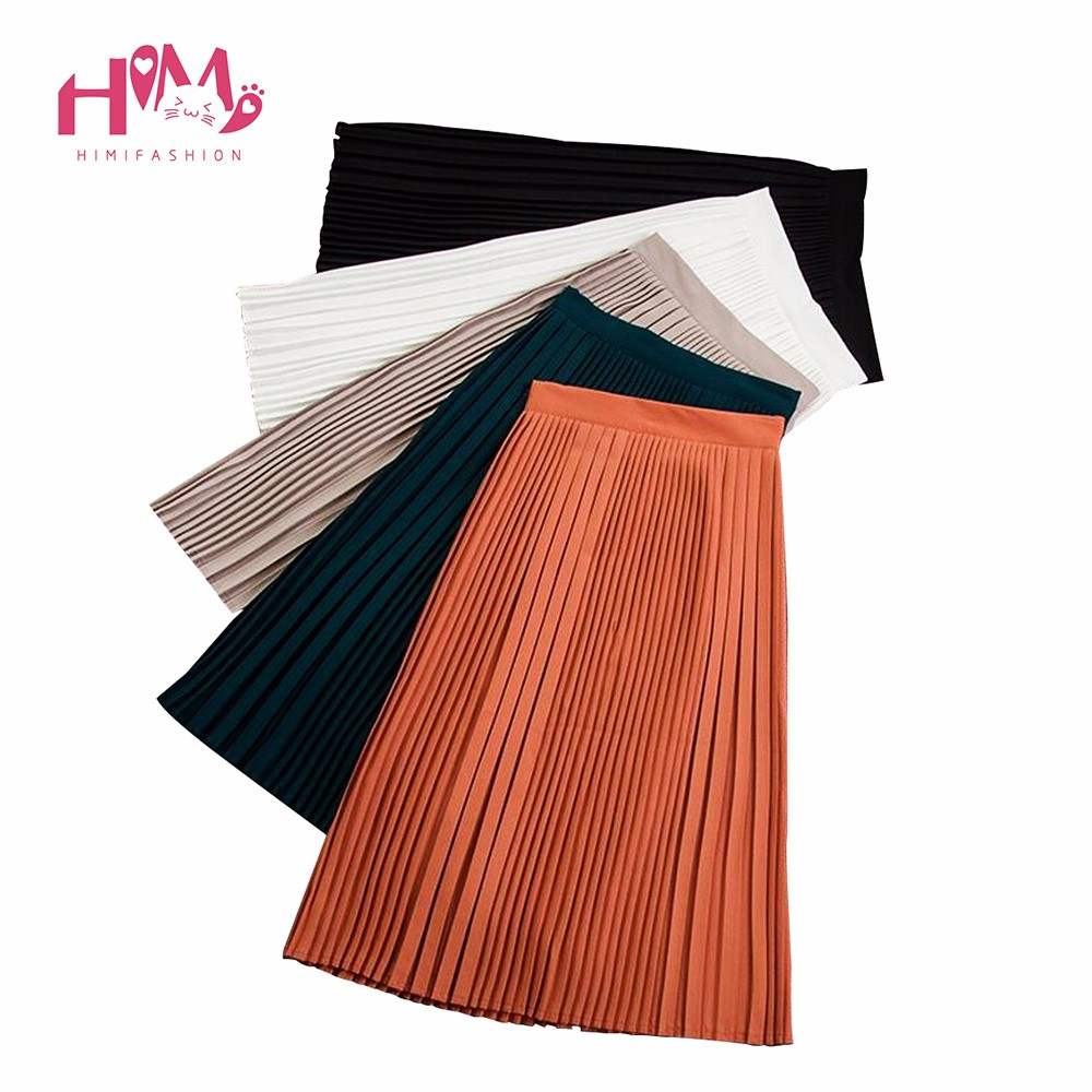 Korean vintage empire pleated skirt chiffon long women autumn all match skirt high quality slimming solid color skirt