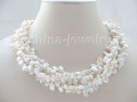 Selling Jewelry>>18 5row white Reborn Keshi freshwater pearl necklace yellow GP magnet