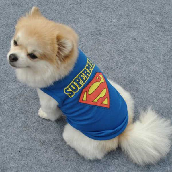Superman Vestiti Del Cane Per Cani di Piccola Taglia Inverno Francese Bulldog T-Shirt Cane Costume di Halloween Cucciolo di Chihuahua Felpe Vestiti Dell'animale Domestico