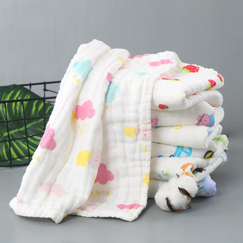 Baby Towel Cotton 6 layers Gauze  Newborn Infant Cartoon Face Towel Hand Bathing Bibs Handkerchief Children Baby Towel 25*50cm six layers of gauze cotton square towel children towel fold a handkerchief plain printed saliva towel