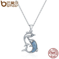 BAMOER Real 100 925 Sterling Silver Love Dolphins Pendant Necklace Women Sterling Silver Jewelry Mother S