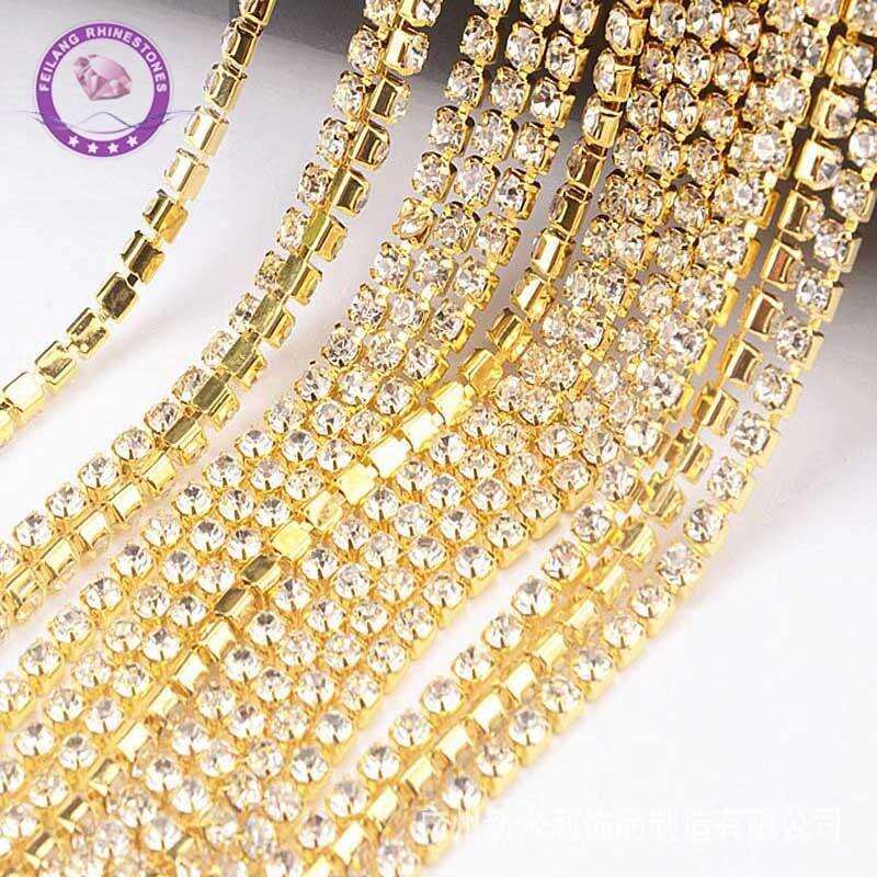 1Yard Rhinestons Gold Claw Chain for Clothing Crystals Strass Glass Diamond DIY Crystal Silver Chains Rhinestone Decoration