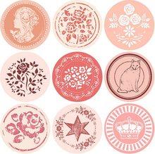 18pcs New Vintage Pattern series Round design Kraft seal sticker stationery office school supplies DIY note gift Labels