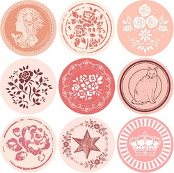 18pcs New Vintage Pattern series Round design Kraft seal sticker stationery office school supplies DIY note gift Labels