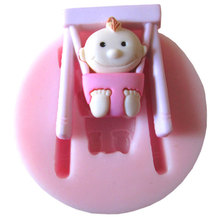 Baby swing Party stroller hand bottle Trojan silicone mold soap, chocolate fondant cake decoration baking