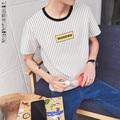 2017 Moda de Nueva Marca Hombres Ropa de Rayas de Impresión de Manga Corta camiseta Slim Fit Camiseta de Los Hombres Camiseta de Algodón Casual de Las Camisetas