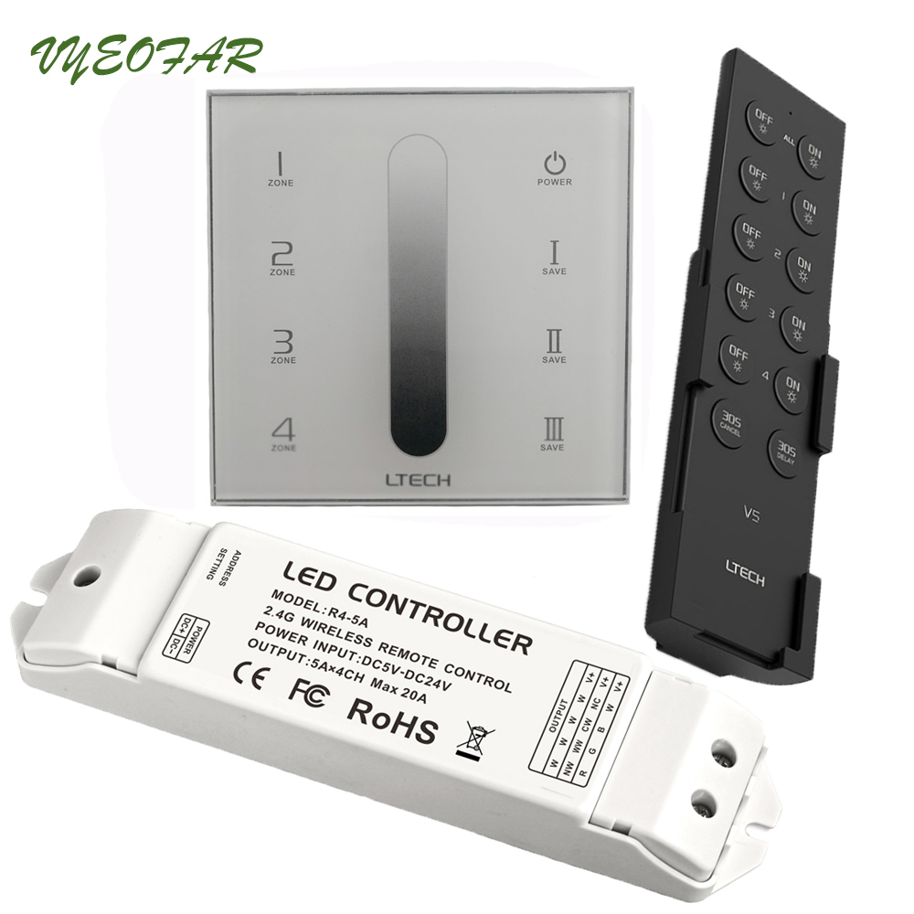 AC110V-240V DX5 Touch Panel Wall Mount 2.4G Wireless 4 Zones LED Dimmer Controller DMX512 Ouput & V5 Remote R4-5A R4-CC Receiver r4 5a
