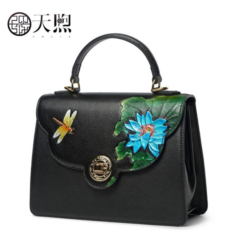 TMSIX 2018 New women genuine leather bags top Cowhide Embossing bag fashion designer handbags leather shoulder Crossbody bags