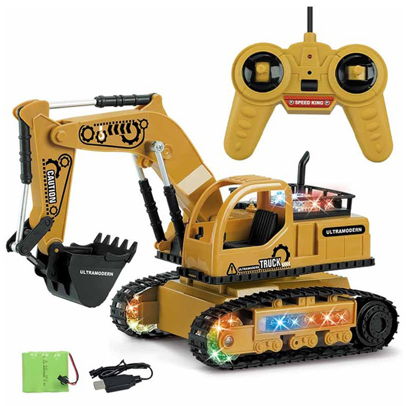 4Ch Simulation Rc Excavator Toys With Music And Light Children'S Boys Rc Truck Toys Gifts Rc Engineering Car Tractor Toy