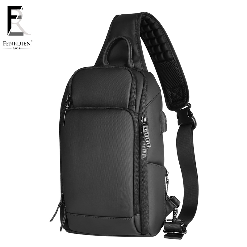 FRN Black Chest Pack Men Casual Shoulder Crossbody Bag USB Charging Chest Bag Water Repellent Travel Messenger Bag Male Fashion сетевой фильтр эра sf 5es 2m w 2м белый [c0039530]