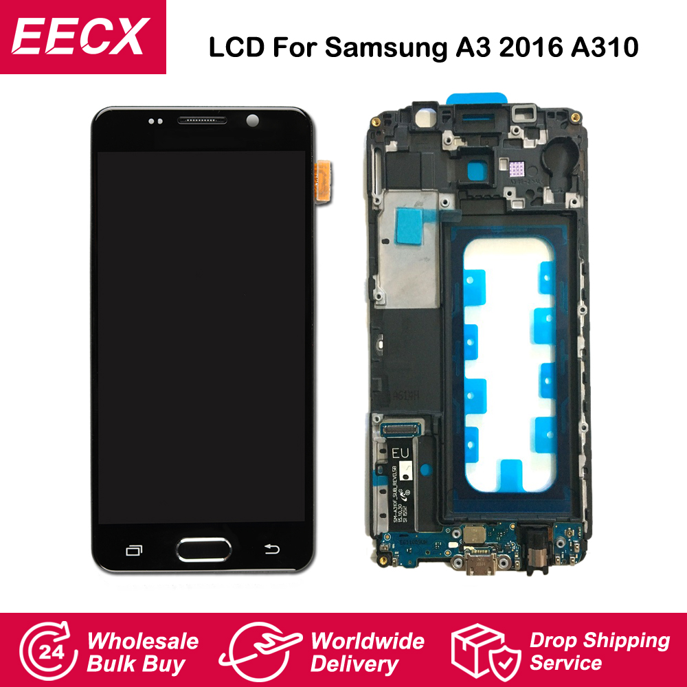 A310 Display For <font><b>Samsung</b></font> Galaxy A3 2016 <font><b>LCD</b></font> A310 Display <font><b>A310F</b></font> <font><b>LCD</b></font> Screen Touch Screen Digitizer w Frame Charging Flex Home Flex image