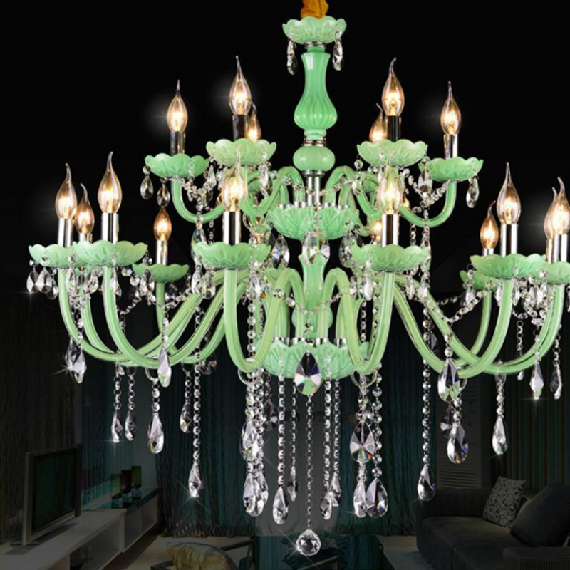 Green glass tube crystal lamp crystal lustres chandelier led decorative candle chandelier living room dining decorative lights