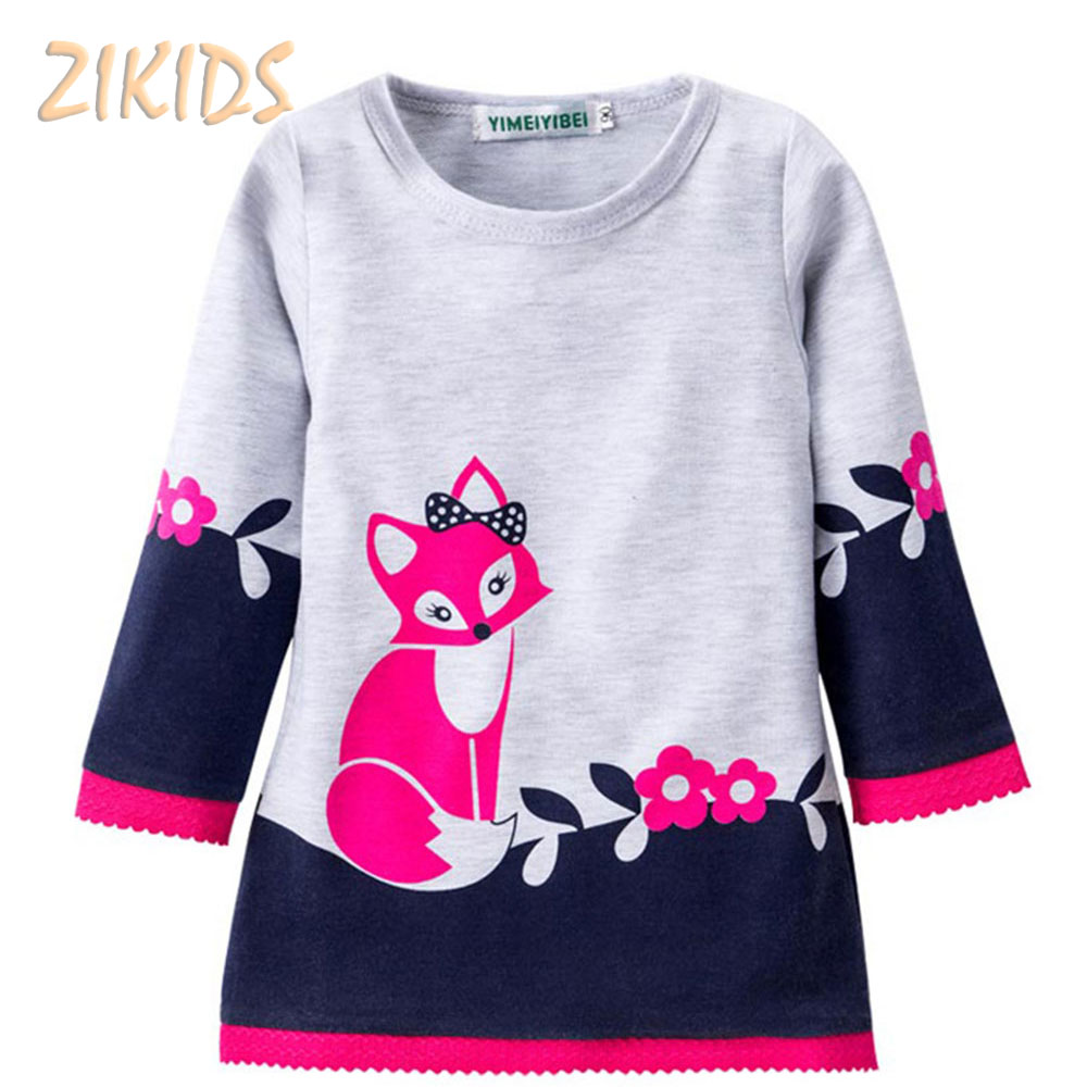 Baby Girl Casual Dress Summer Pure Cotton(100%) Cartoon Fox Dresses Girls Clothes 2017 Kids Children Birthday Party Clothing baby girl summer dress children res minnie mouse sleeveless clothes kids casual cotton casual clothing princess girls dresses