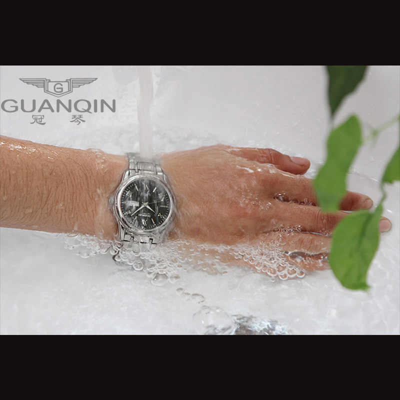 GUANQIN カップル時計セット高級ステンレス鋼メンズ · レディースの恋人時計の日付、週男性女性腕時計クォーツ時計時計