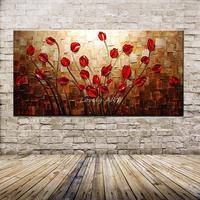 100% Handgemalte Strukturierte Spachtel Rote Blume Ölgemälde Abstrakte Moderne Kunst Wohnzimmer Decor Bild