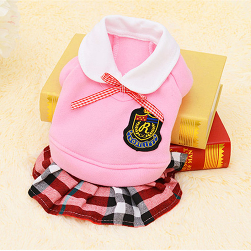 Pet Dog Clothes Hamster Rabbit Clothing Cute School Style For Ferret Guinea Pig Cat Small Animal Pets Pink Gray Coat Size XS-XL