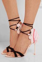 цена Summer Hot Pink Flamingo Ruffles Back Women Open Toe Sandals Black Suede Leather Straps Ladies Lace Up High Heels Wedding Shoes онлайн в 2017 году