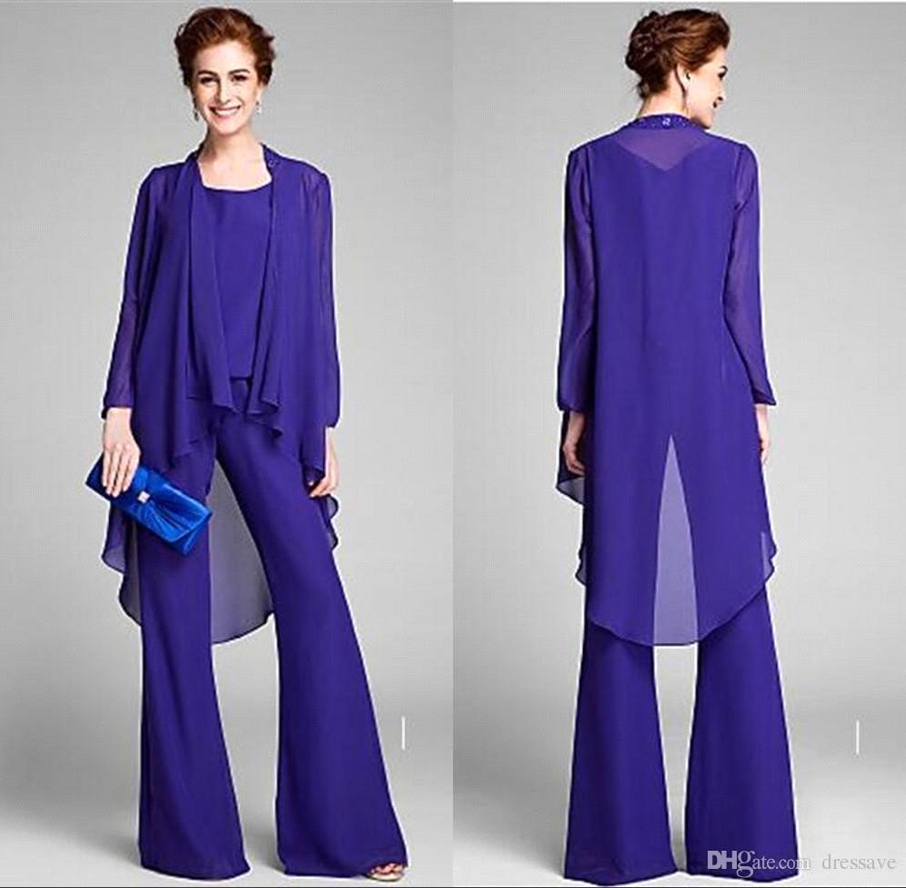 Fashion Chiffon Mother of The Bride Pant Suit 2019 Purple Plus Size Formal Evening Dresses Long Vestidos De Madrina Custom Make
