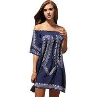 Bohemian Vibe Geometric Print Off The Shoulder Beach Dress Swimwear