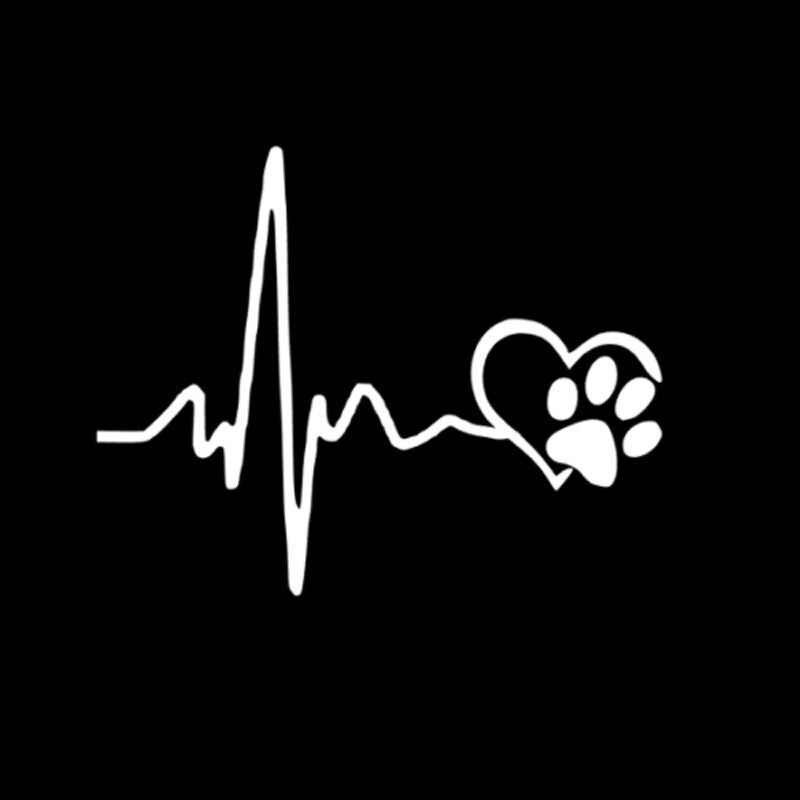 13 CM * 10.3 CM Hartslag Liefde Hond Voetafdrukken Creatieve Vinyl Auto Sticker Decals Zwart/Zilveren Grappige Auto Sticker nieuwe Collectie