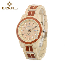 BEWELL New Arrival Unisex Alloy Wood Watch Men And Women Round Quartz Wristwatch 3 Bar Water Risistance Auto Date Watch W1053A