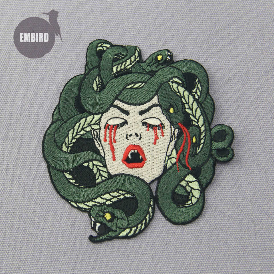 Embird Patch Geborduurde Iron On Patches Pack De Bloeden Medusa Ceo-Vriendelijke Grote Patches Voor Jassen Patch