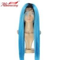 Али удивительные бразильский шелковистые прямые Синтетические волосы на кружеве парик Волосы remy Ombre Синий парики человеческих волос с воло