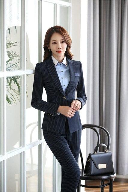 5d396cf0c6 Projetos formais Uniformes Profissionais Blazers Jaquetas E Calças Outono  Inverno Para Mulheres de Negócio Trabalho Desgaste