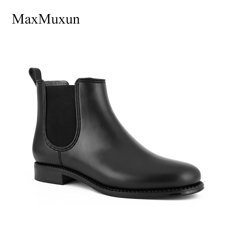 MaxMuxun Woman Black Solid Elastic Rain Boots Slip On Round Toe Chunky Thick Heel Ankle Boots Women Rubber Platform Rainy Shoes