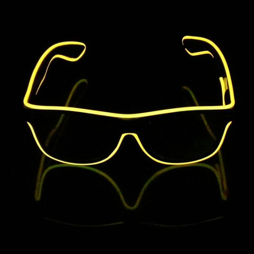 Led Strip Lamp El Wire Glasses Crystal clear frame flash sunglasses ...
