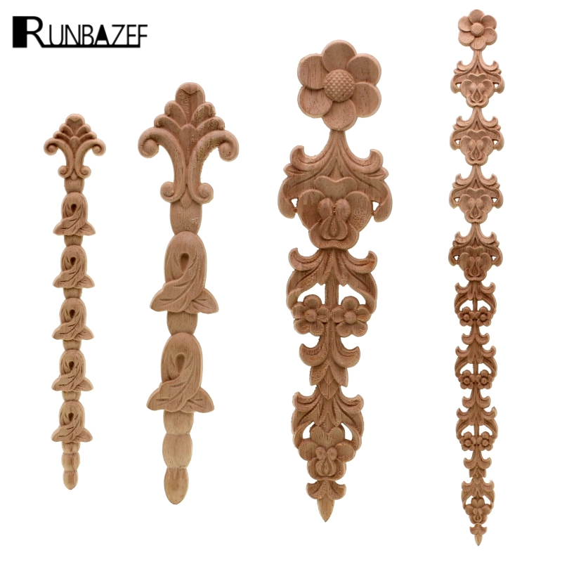 RUNBAZEF New Arrival Vintage 1pc Wood Carved Corner Onlay Applique Unpainted Cabinet Decorative Figurines Wooden Miniature