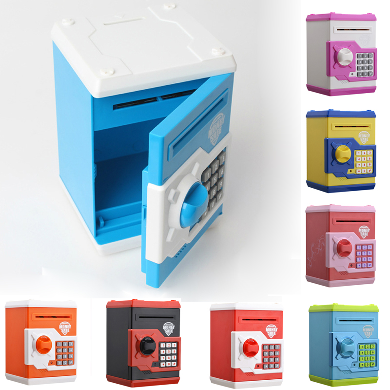 Mini ATM Piggy Safety Coins Saving Box Chewing Coin Cash Deposit Machine Kids Favors Bank Electronic Password Money Box