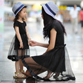 Лето Черный Тюль Мама Мать Дочь Платья Семьи Сопоставления Одежда Vestidos Новый 2016 ДАО