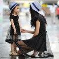 Tules Preto Mamãe Mãe e Filha Vestidos de Meninas de verão Da Família Roupas Combinando Vestidos Novo 2016 DAO