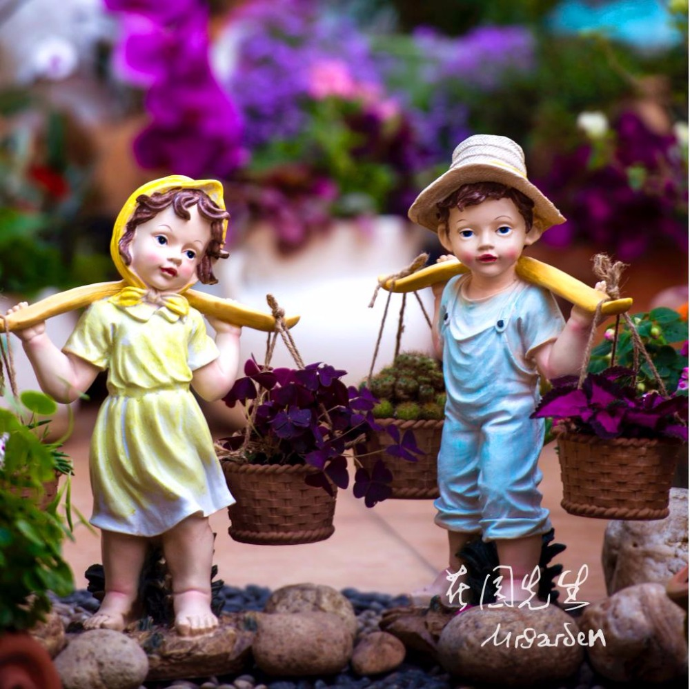 creative resin garden ornament kindergarten statue home decor crafts outdoor decoration objects resin Cartoon doll figurine gift in Statues Sculptures from Home Garden