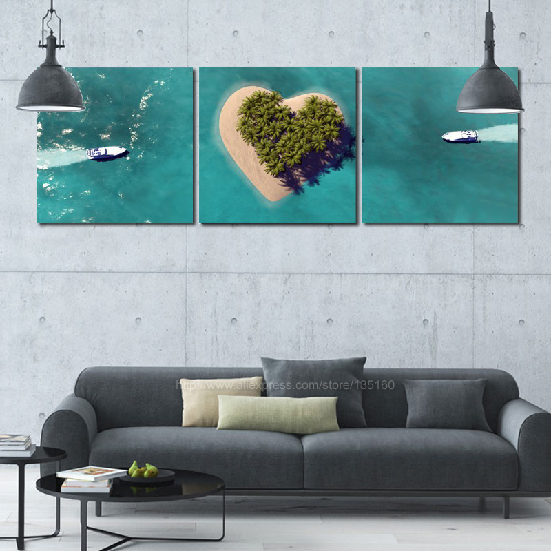 Home Decor Ship Tropical Seascape Paintings Heart Island Oil Painting On Canvas Room For Walls Romantic Decoration No Frame
