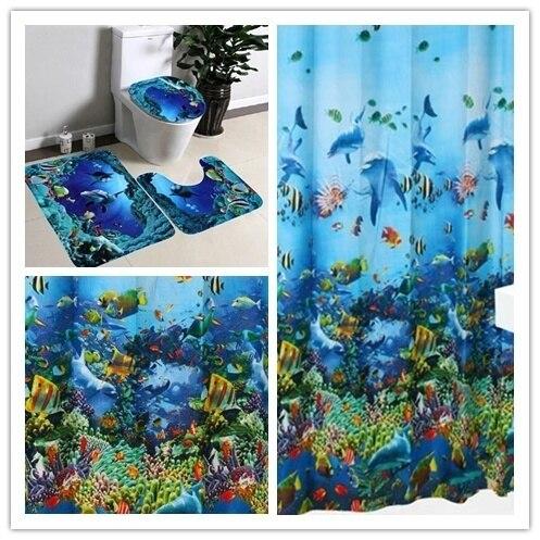 3 pz/set Ocean Modello Tappetino Da Bagno Bagno Tappetino antiscivolo Set di Fla