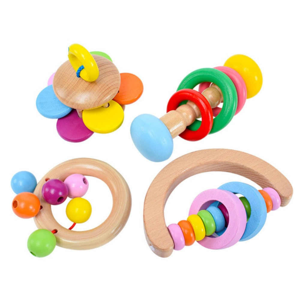 MrY Wood Baby Rattle 4 Pcs Colorful Wooden Baby Rattle Educational Grasping Rattle Handbell Montessori Toy