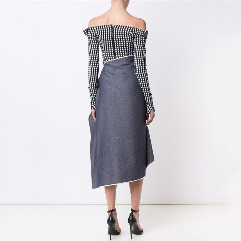 Vêtements Éclair Patchwork Asymétrique Ruché Fermeture Femelle Irrégulière Printemps Taille Gray Haute Jupes Jupe Midi Mode 2018 tw4qa6R