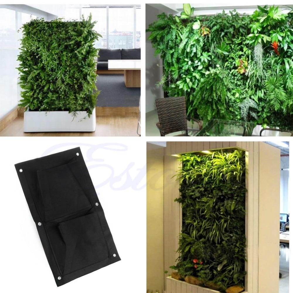 New 2-Pocket Vertical Indoor Outdoor Wall Balcony Garden Hanging Planter Bag Free shipping-Y102