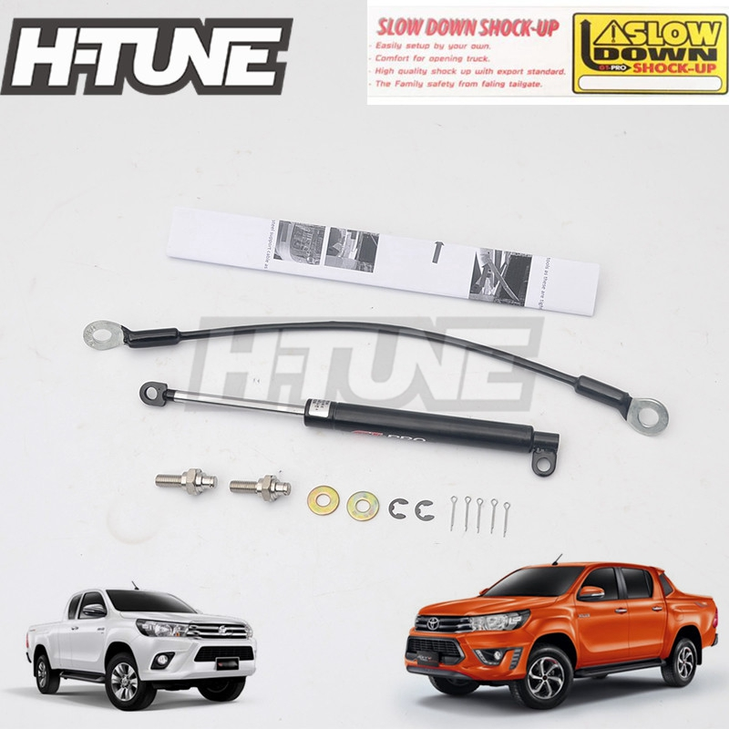 H-TUNE 4x4 Accessories Stainless Steel Rear Tailgate Slow Down Shock Up Lift Gas Struts for Hilux REVO 2015++ 2015 2017 car wind deflector awnings shelters for hilux vigo revo black window deflector guard rain shield fit for hilux revo