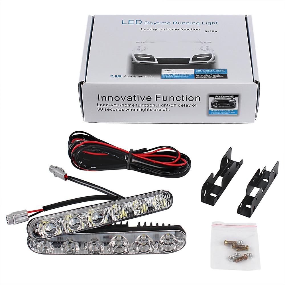 Universal Daylight 6 LEDs Car Styling DRL Car daytime LED light Super Bright Car Daytime Running Lights