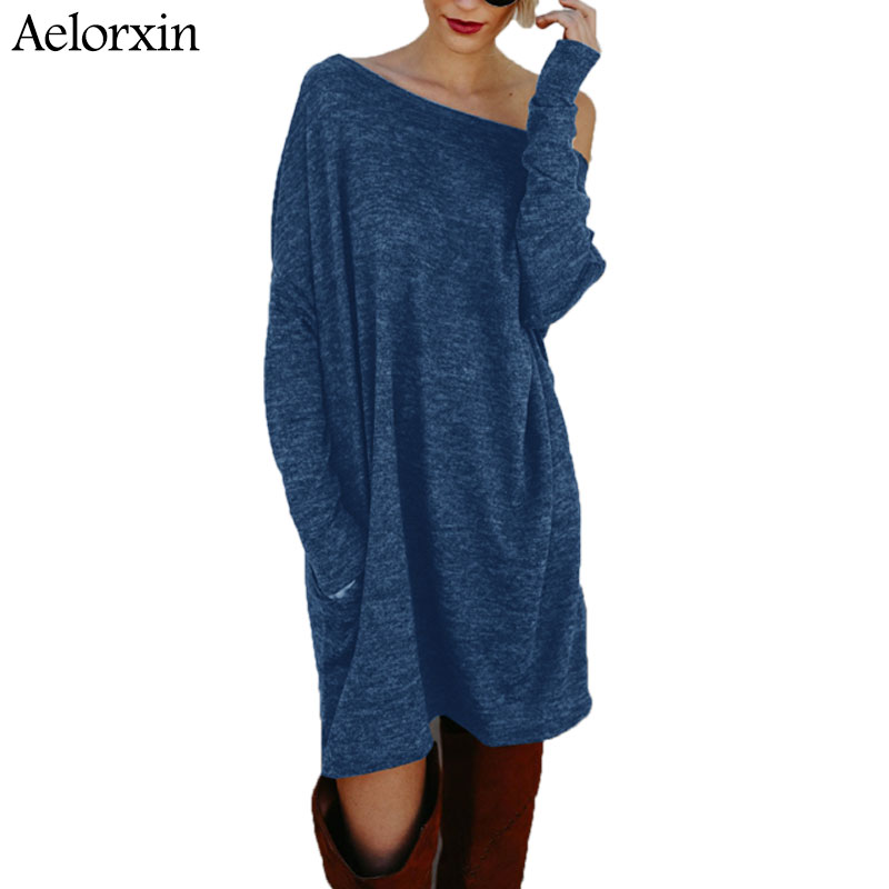 2017 Plus Size Dress Women Long Sleeve Winter Bandage Knitted Loose Dress Jurken Red Robe Femme Christmas Dresses Robe Hiver 2XL plain loose long sleeve plus size dress