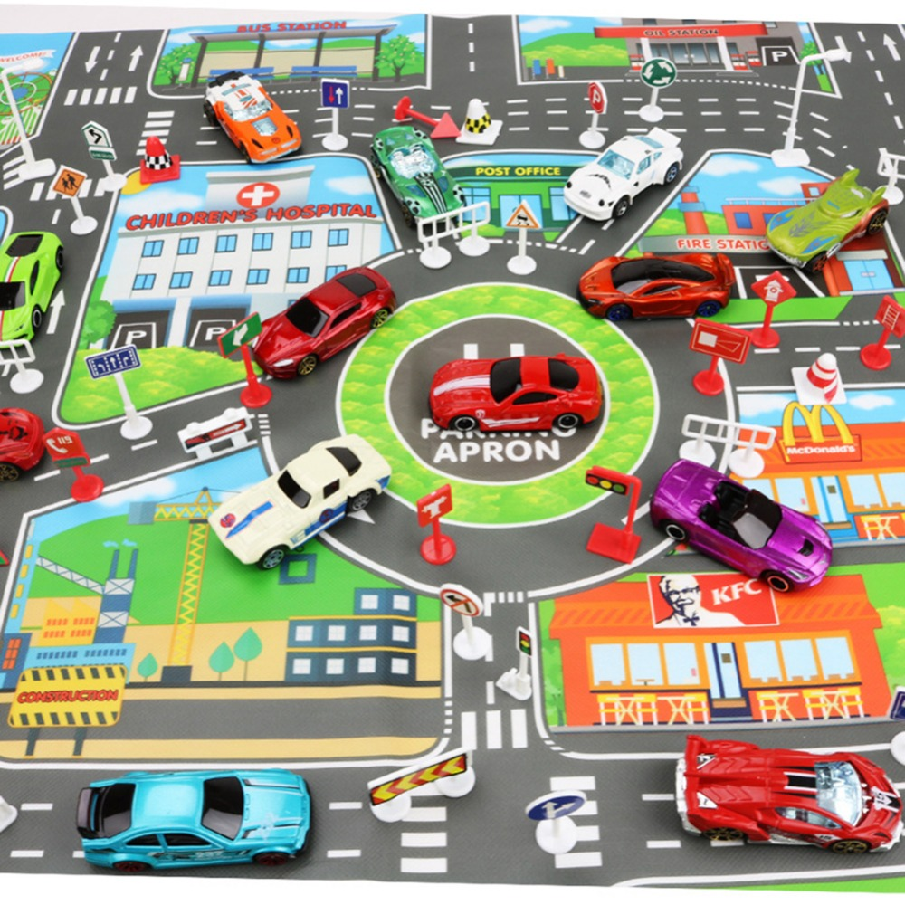 83 58CM Kids Toys City Parking Lot Roadmap Map DIY 28 Pcs Road Signs