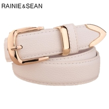 RAINIE SEAN White Waist Belt For Women Fashion Leather Pin Buckle Ladies Trousers 2019 New Female