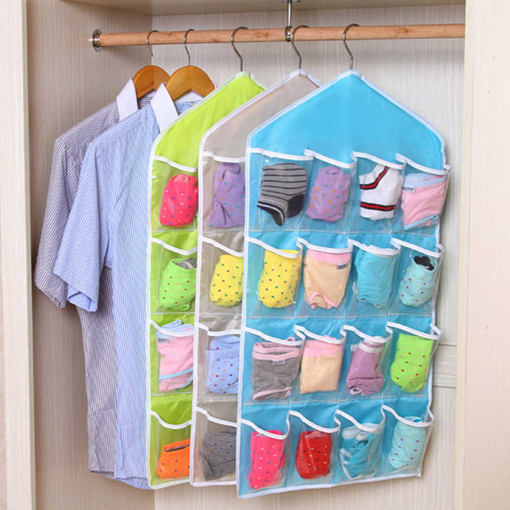 1Pc 16 Pockets Foldable Wardrobe Hanging Bags Socks Briefs Organizer Clothing Hanger Closet Shoes Underpants Storage Bag